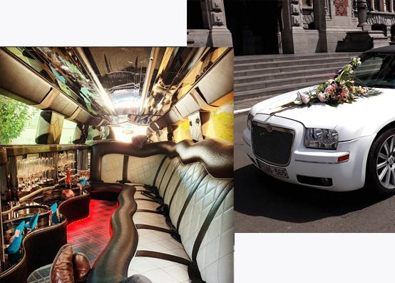Interieur limousine, limousine avec des fleur